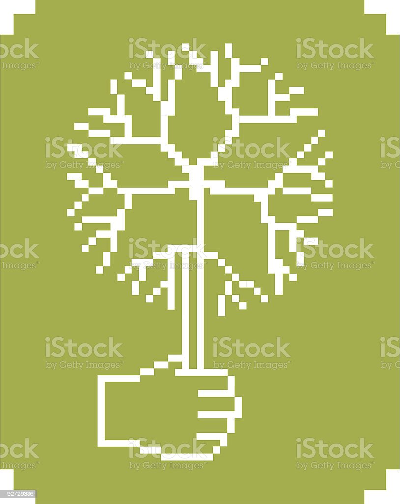 Pixelate digital tree royalty-free stock vector art
