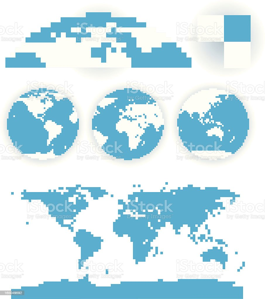 Pixelated globes vector art illustration