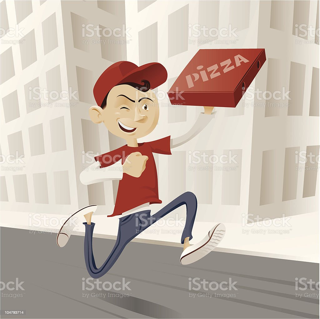 pizza delivery guy vector art illustration