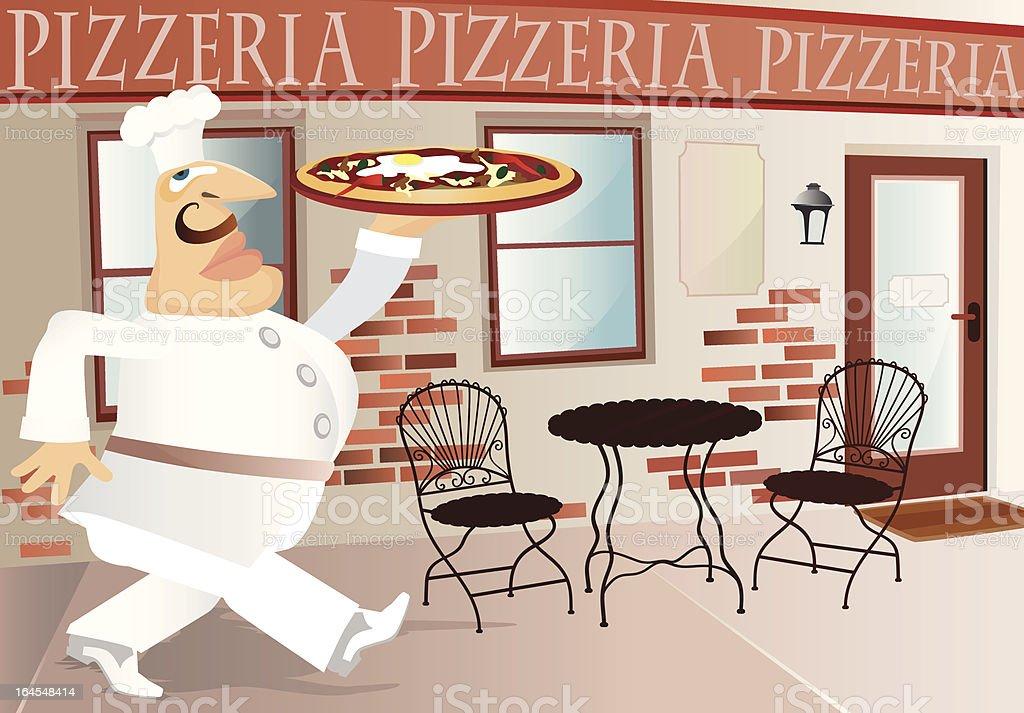 Pizza Head Cook vector art illustration