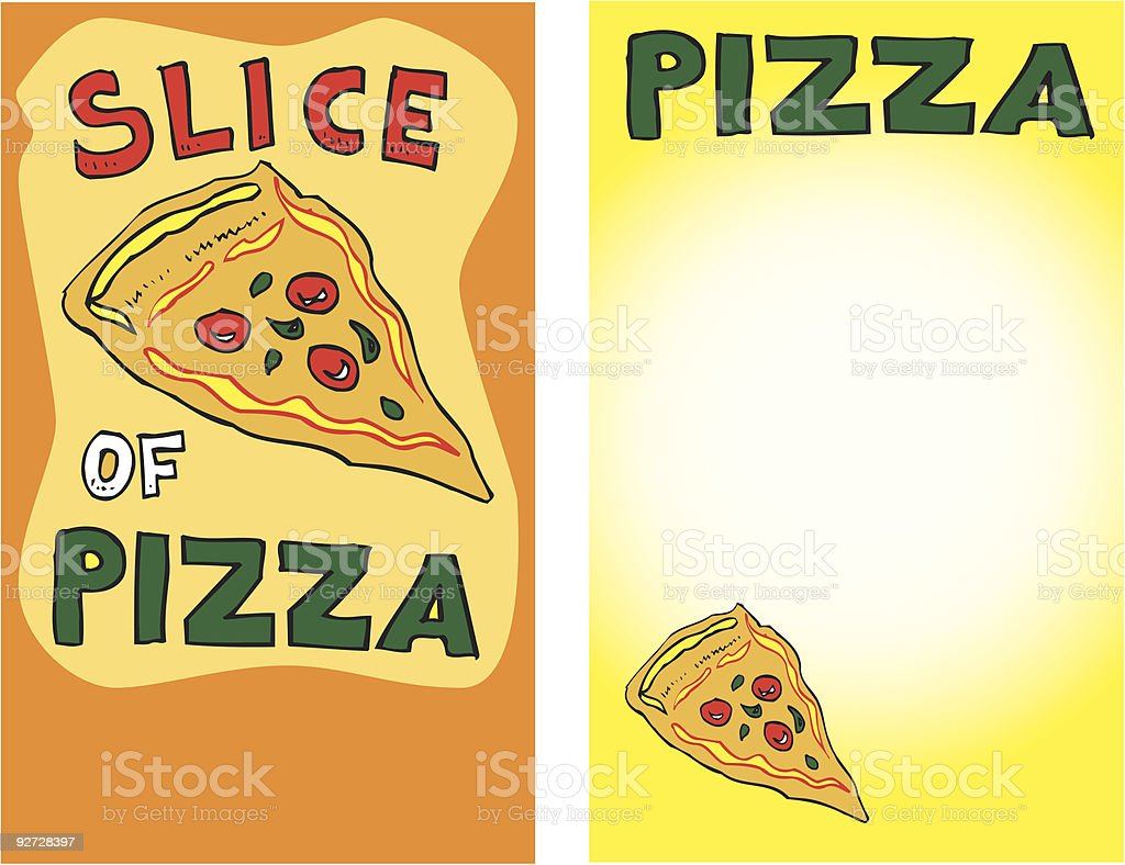 Pizza Slice Table Cards (vector illustration) royalty-free stock vector art