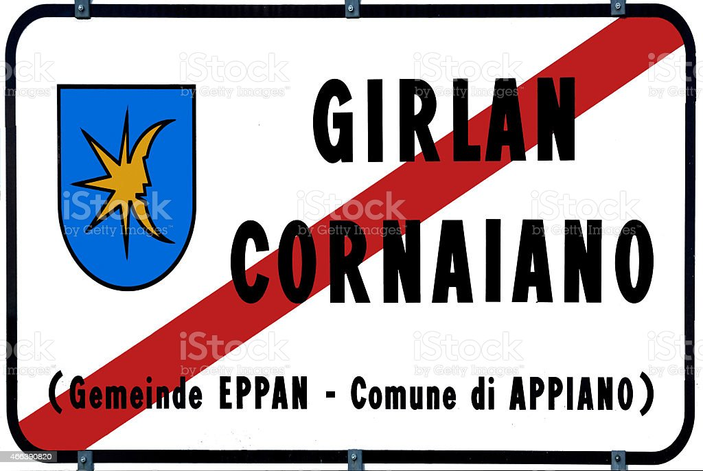 Place name sign of Girlan in South Tyrol vector art illustration