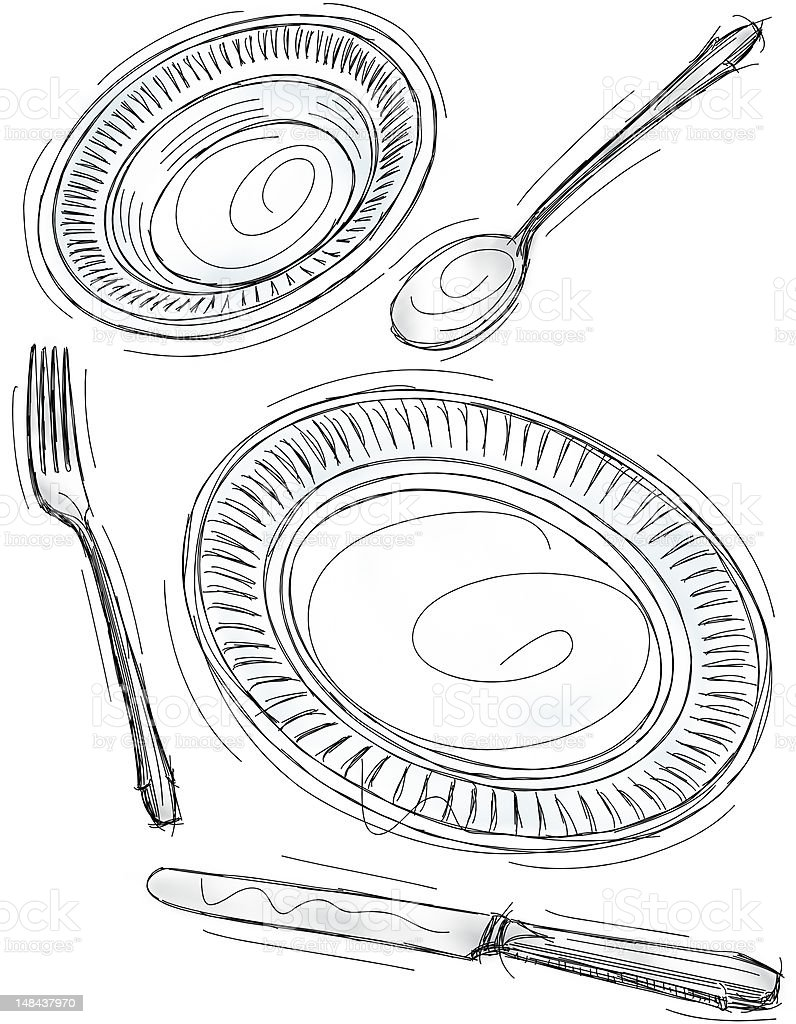 Place setting sketch royalty-free stock vector art