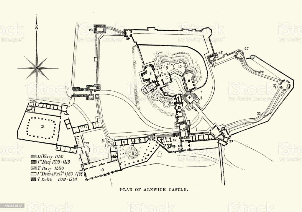 Plan of Alnwick Castle vector art illustration