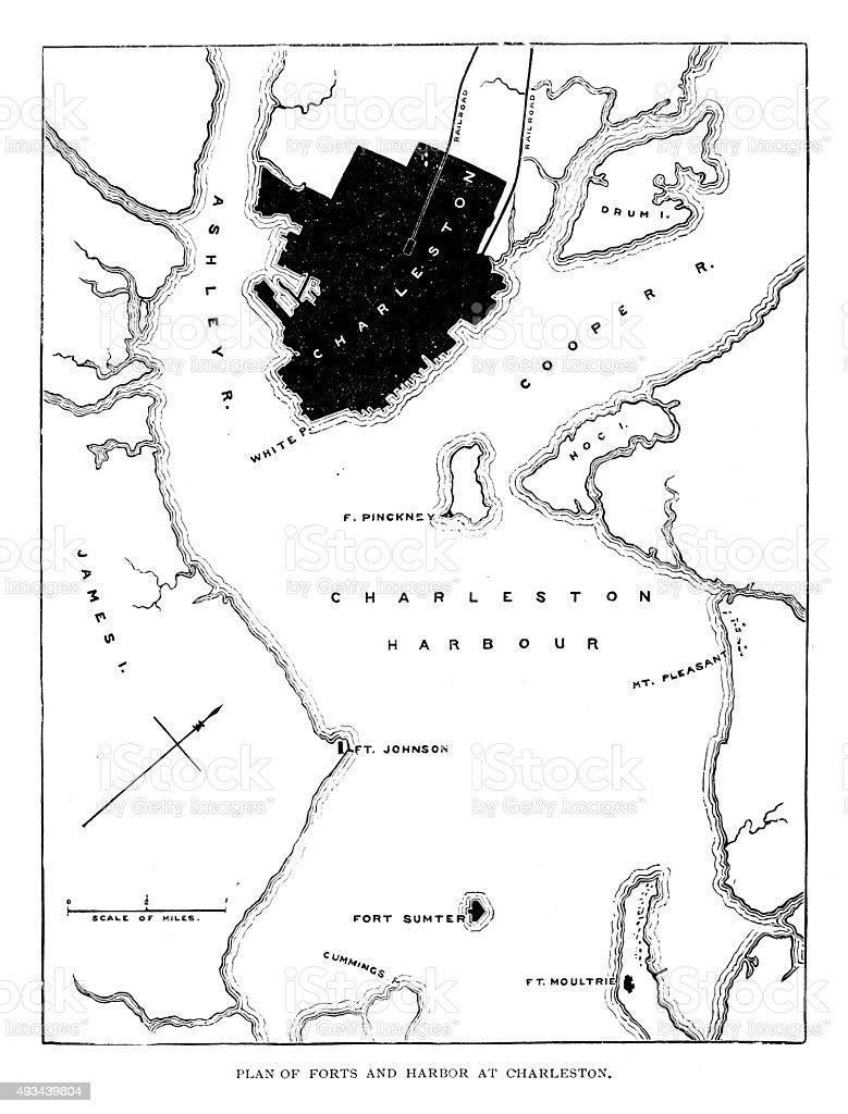 Plan of Forts and Harbor at Charleston South Carolina vector art illustration