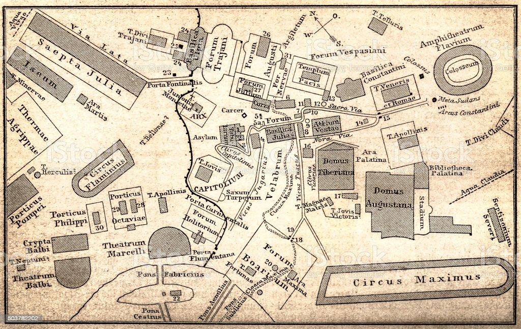 Plan of Roman Forum vector art illustration