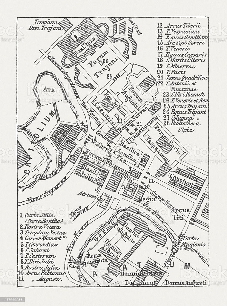 Plan of Roman Forum, published in 1878 vector art illustration