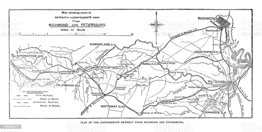 Plan of the Confederate retreat from Richmond and Petersburg vector art illustration