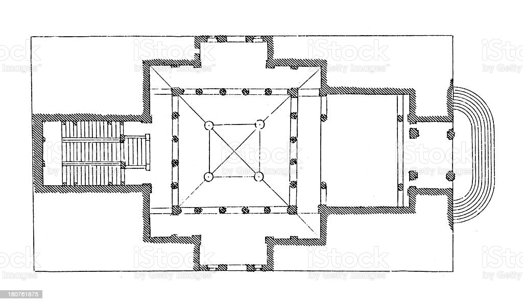 Plan of the Grassi palace in Venice, Italy vector art illustration