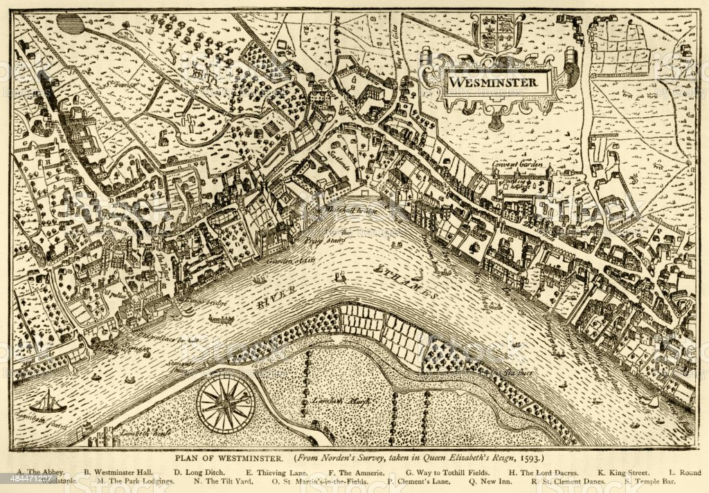 Plan of Westminster, 1593 vector art illustration