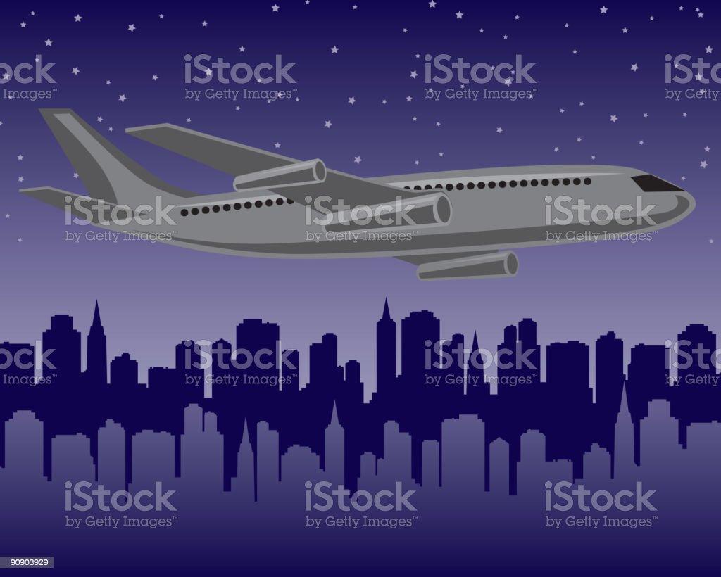 Plane at Night royalty-free stock vector art