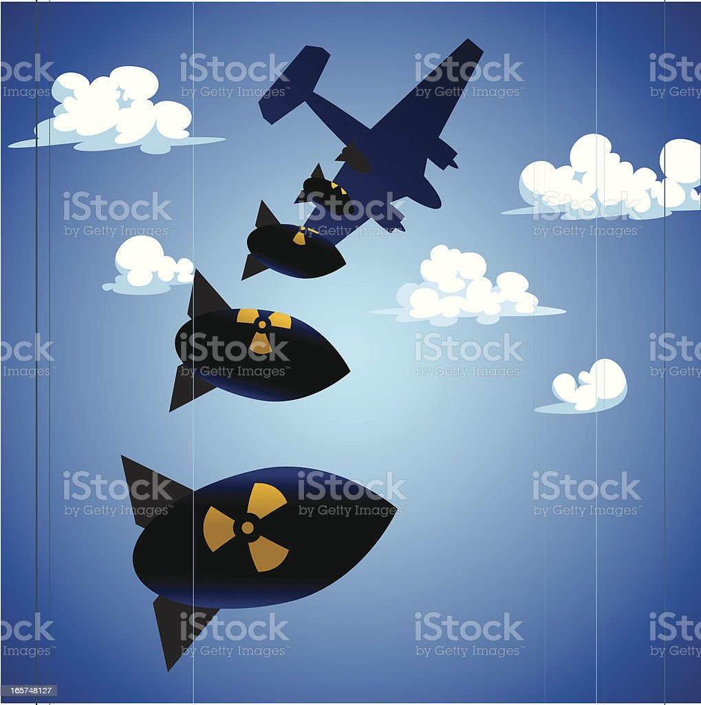 Plane Dropping Bombs royalty-free stock vector art