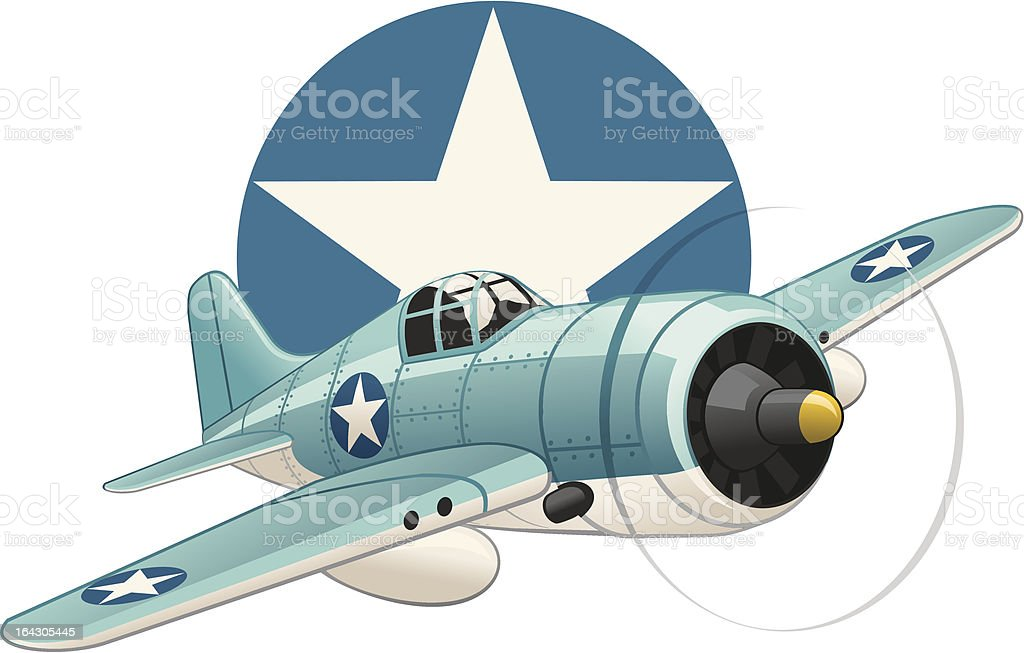 U.S. WW2 plane on air force insignia background vector art illustration