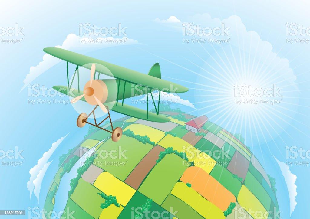 Plane soars over fields royalty-free stock vector art