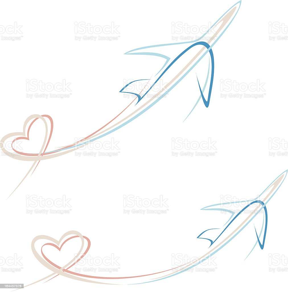 Plane with heart shape trace vector art illustration