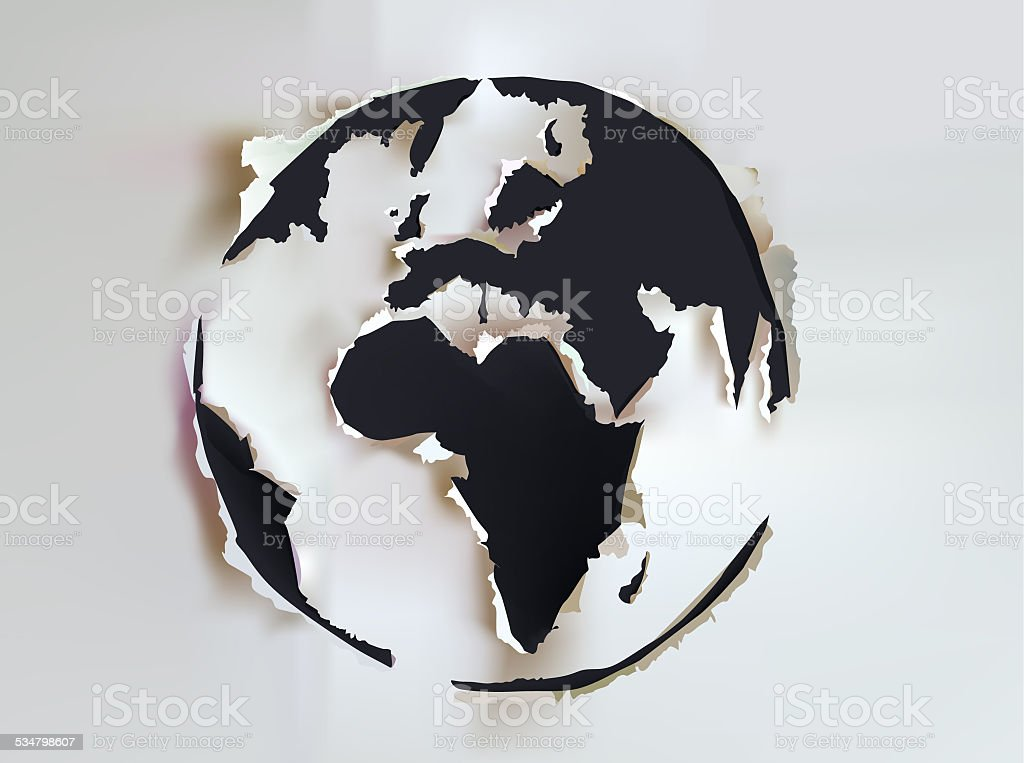 Planet Earth, Ripped paper background template vector art illustration