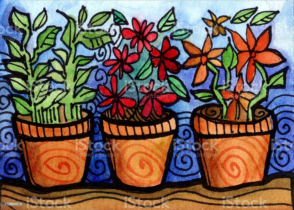 Plant and Flower Pots royalty-free stock vector art