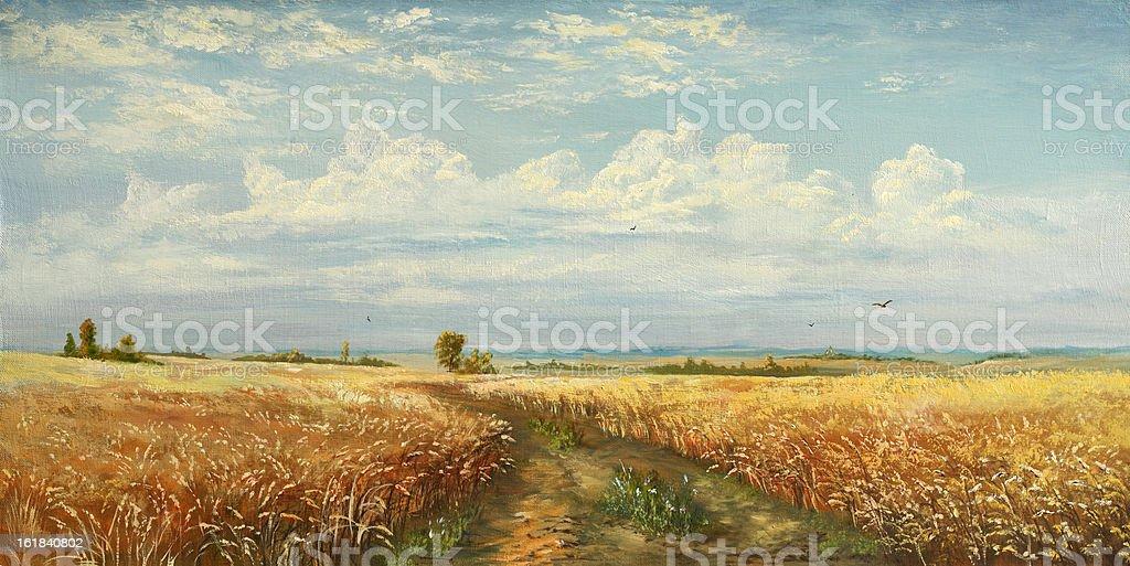 plant of wheat vector art illustration