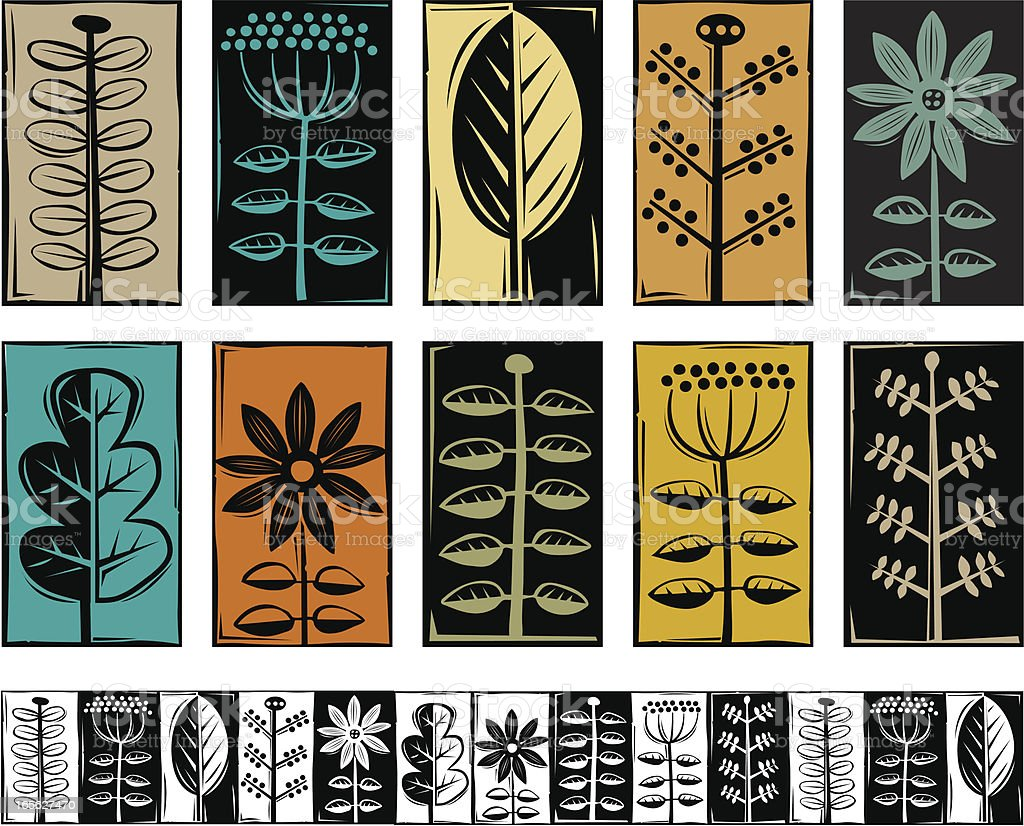 Plant symbols vector art illustration