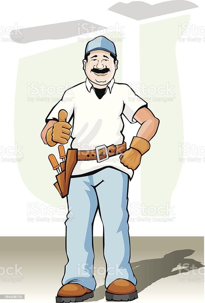 Plasterer Construction Worker vector art illustration