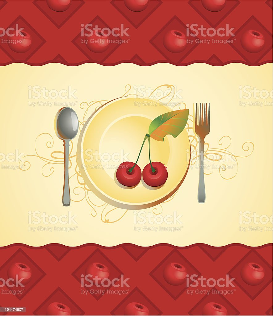 plate and cherry royalty-free stock vector art