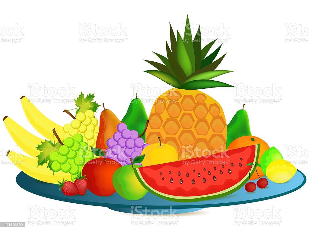 assiette de fruits avec dessin anim stock vecteur libres de droits 471106760 istock. Black Bedroom Furniture Sets. Home Design Ideas
