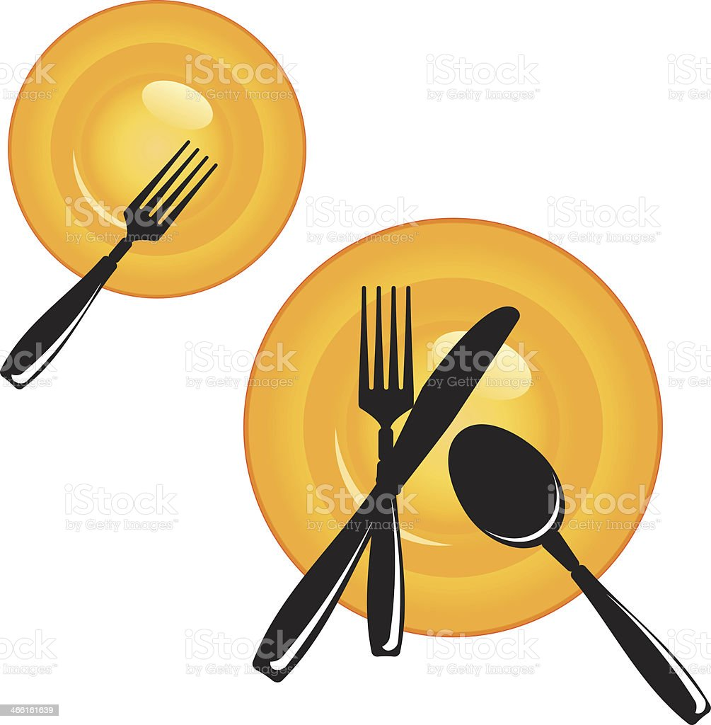 Plate with Cutlery vector art illustration