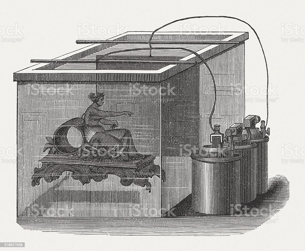 Plating, galvanic technology for surface covering of metal, 19th century vector art illustration