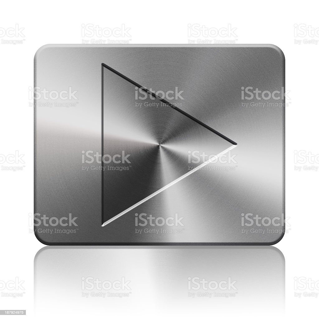 Play button silver icon royalty-free stock vector art