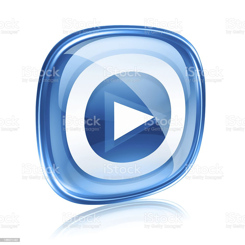 Play icon button blue glass, isolated on white background. royalty-free stock vector art