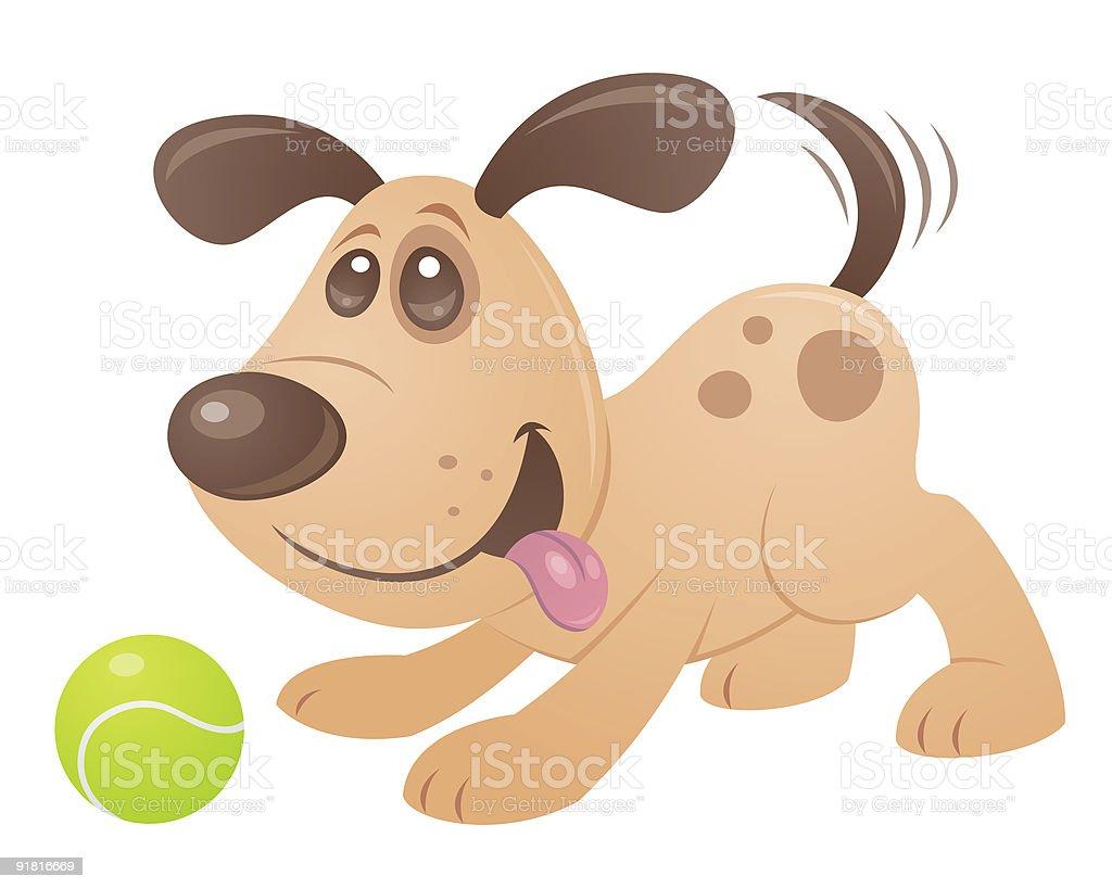Playful Puppy vector art illustration