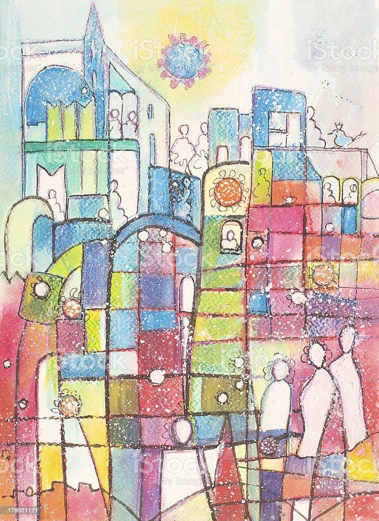 Playful Town vector art illustration
