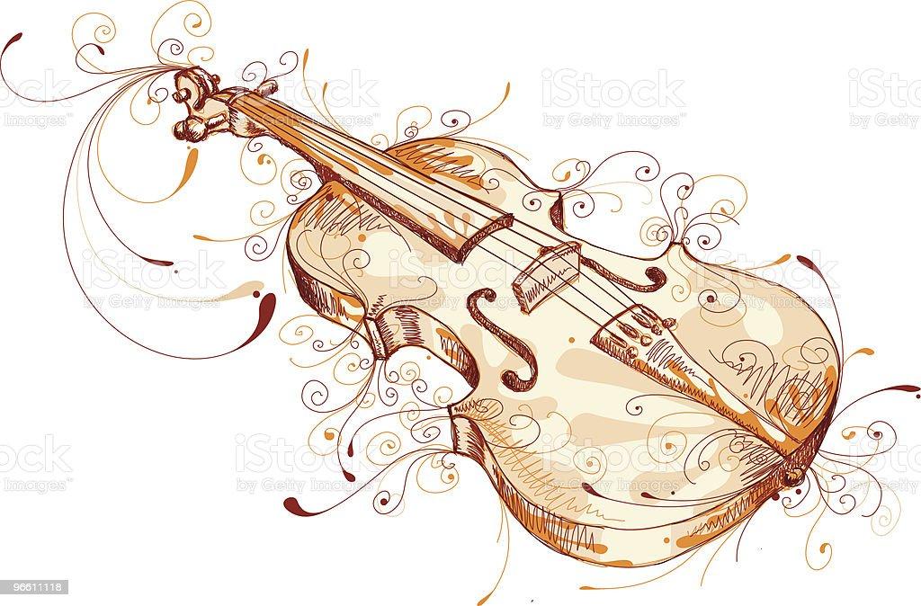 Playful Violin vector art illustration