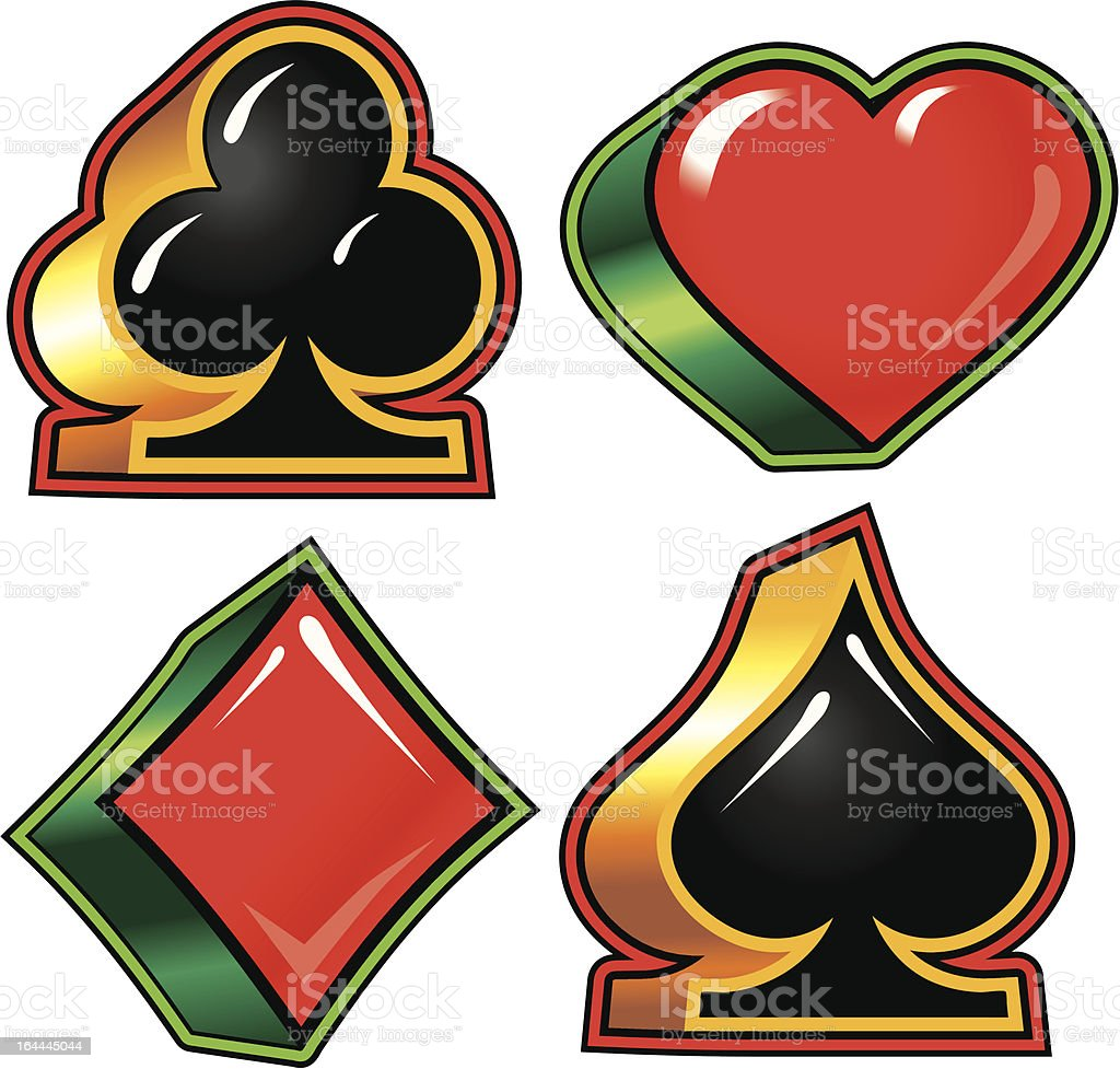 Playing Card Suits (vector) vector art illustration