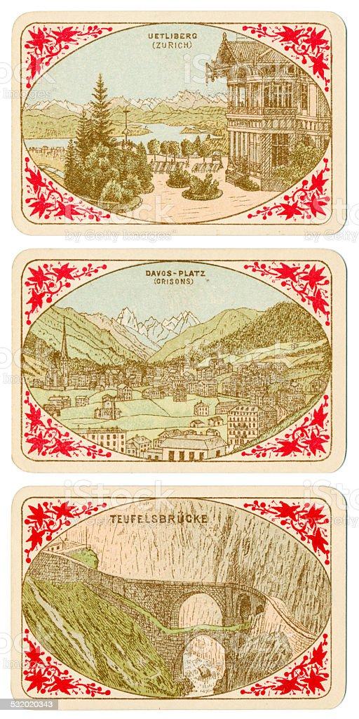 Playing cards Switzerland 1880 Uetliberg Davos-Platz Teufelsbrucke vector art illustration
