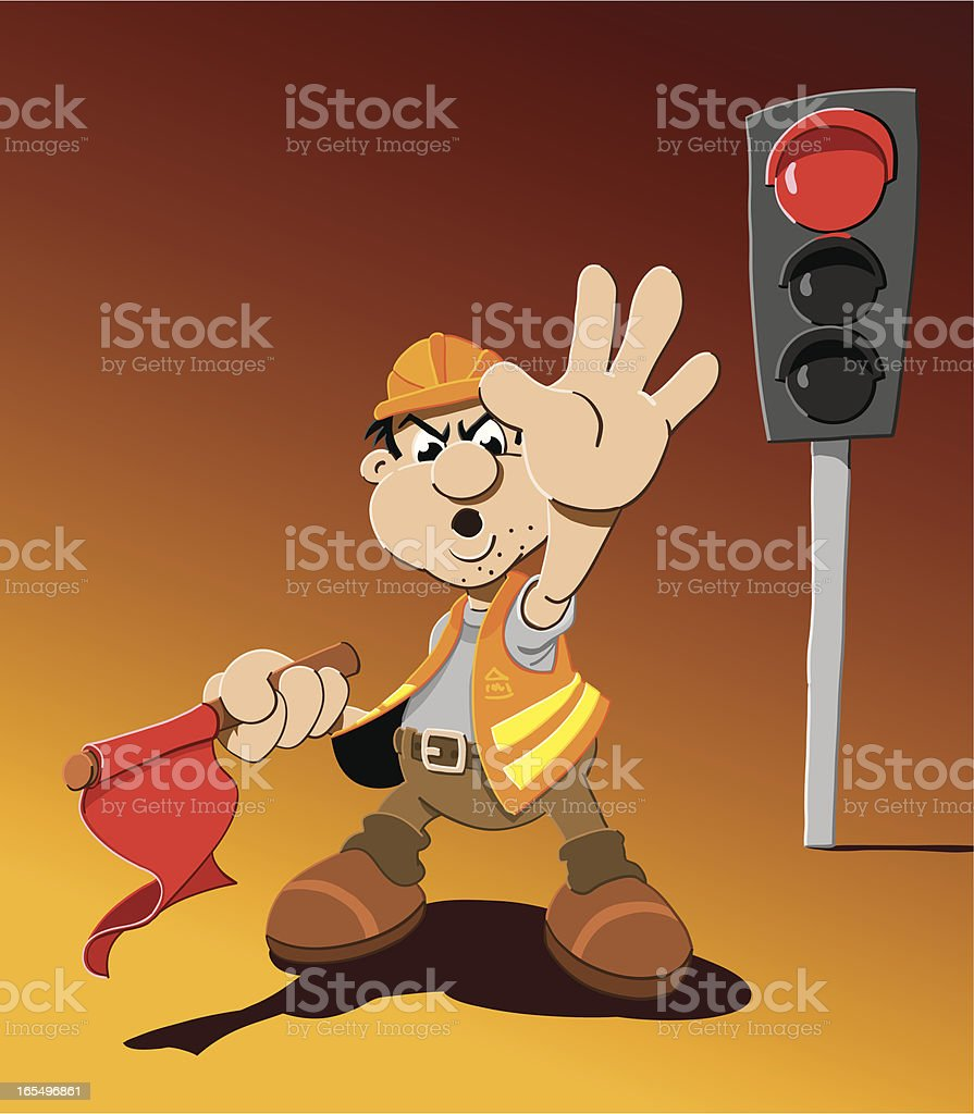 Please Wait Stoplight Cartoon Man royalty-free stock vector art