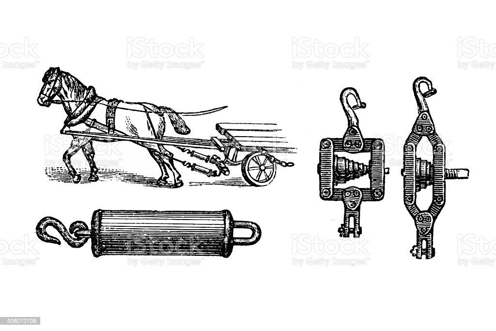 Plowing ,trailer equipment vector art illustration
