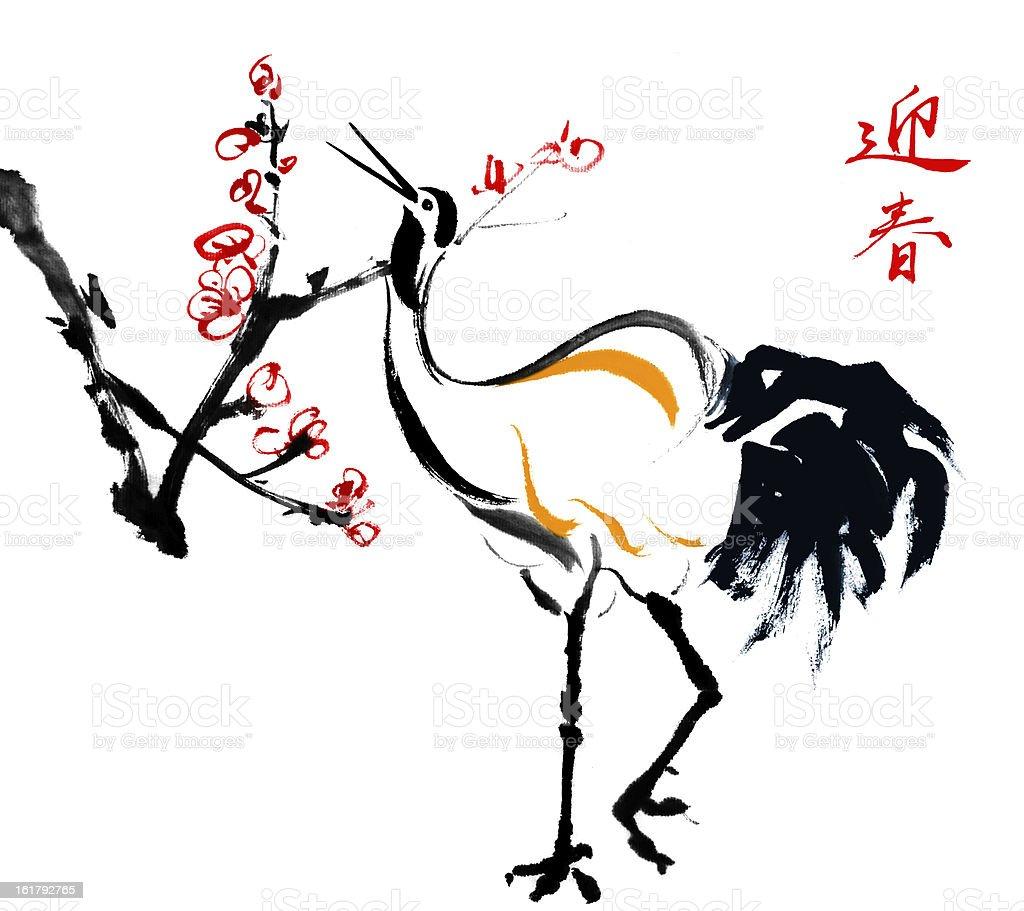 plum blossom and birds royalty-free stock vector art