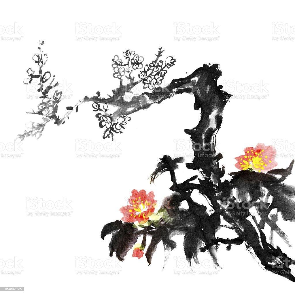 plum blossom flowers royalty-free stock vector art