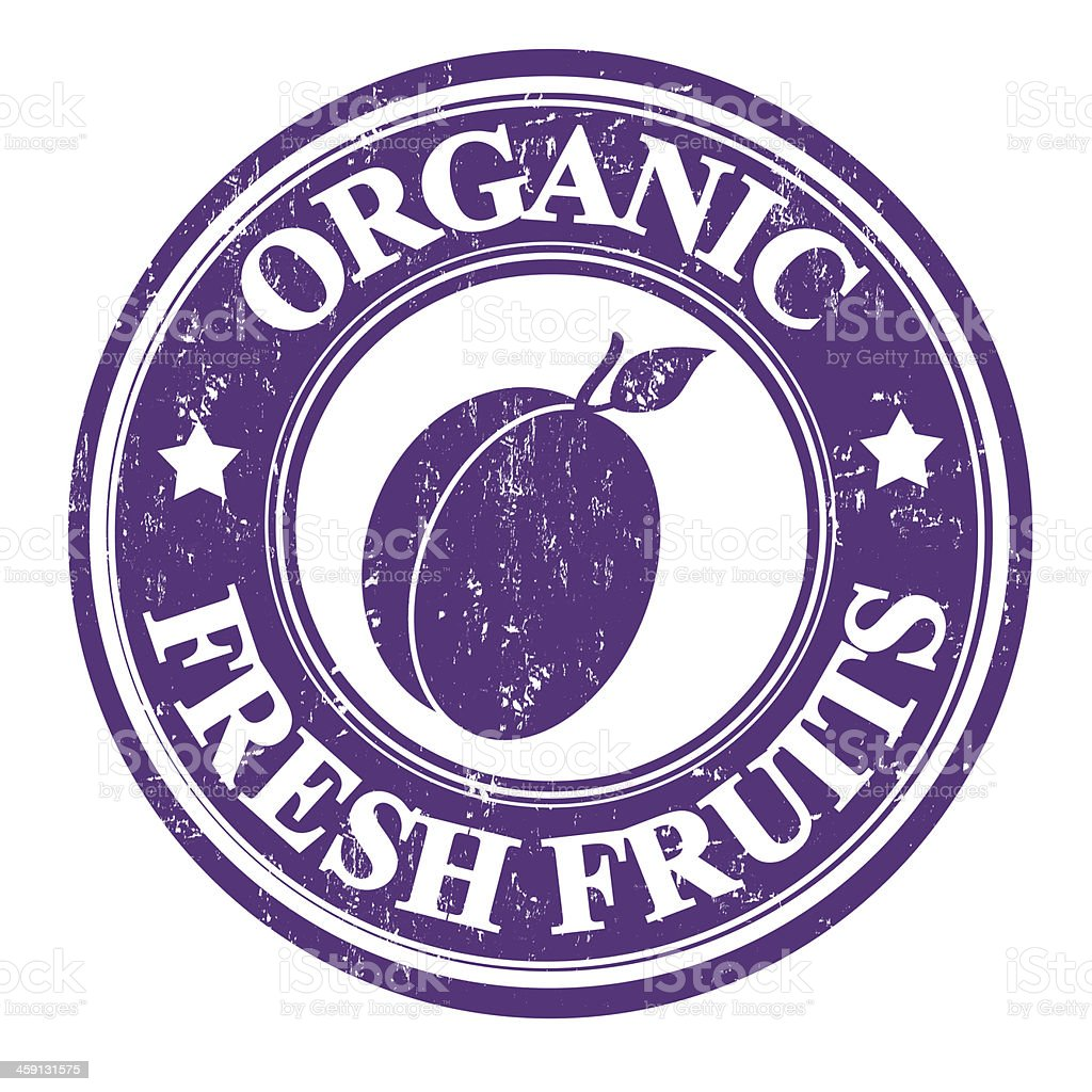 Plum fruit stamp or label royalty-free stock vector art