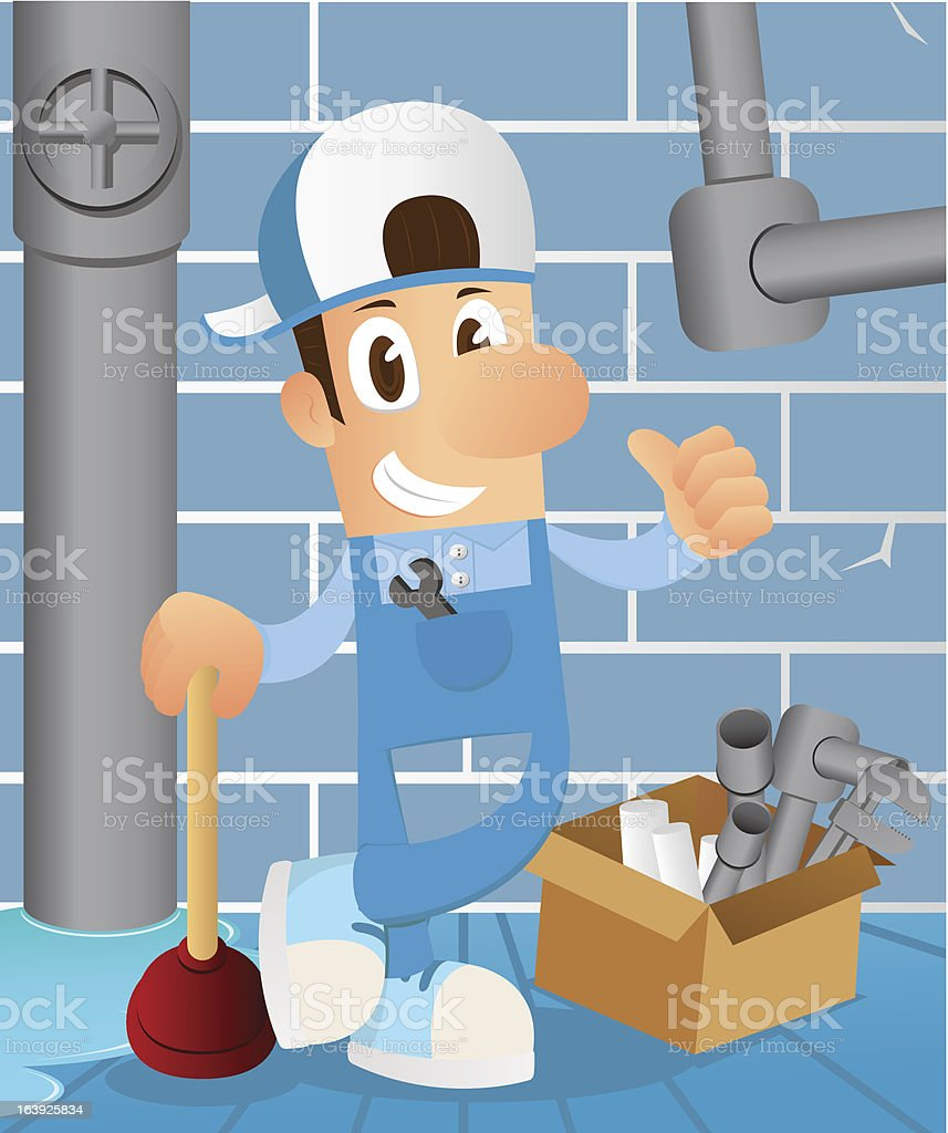 Plumber in Sewer tunnel royalty-free stock vector art