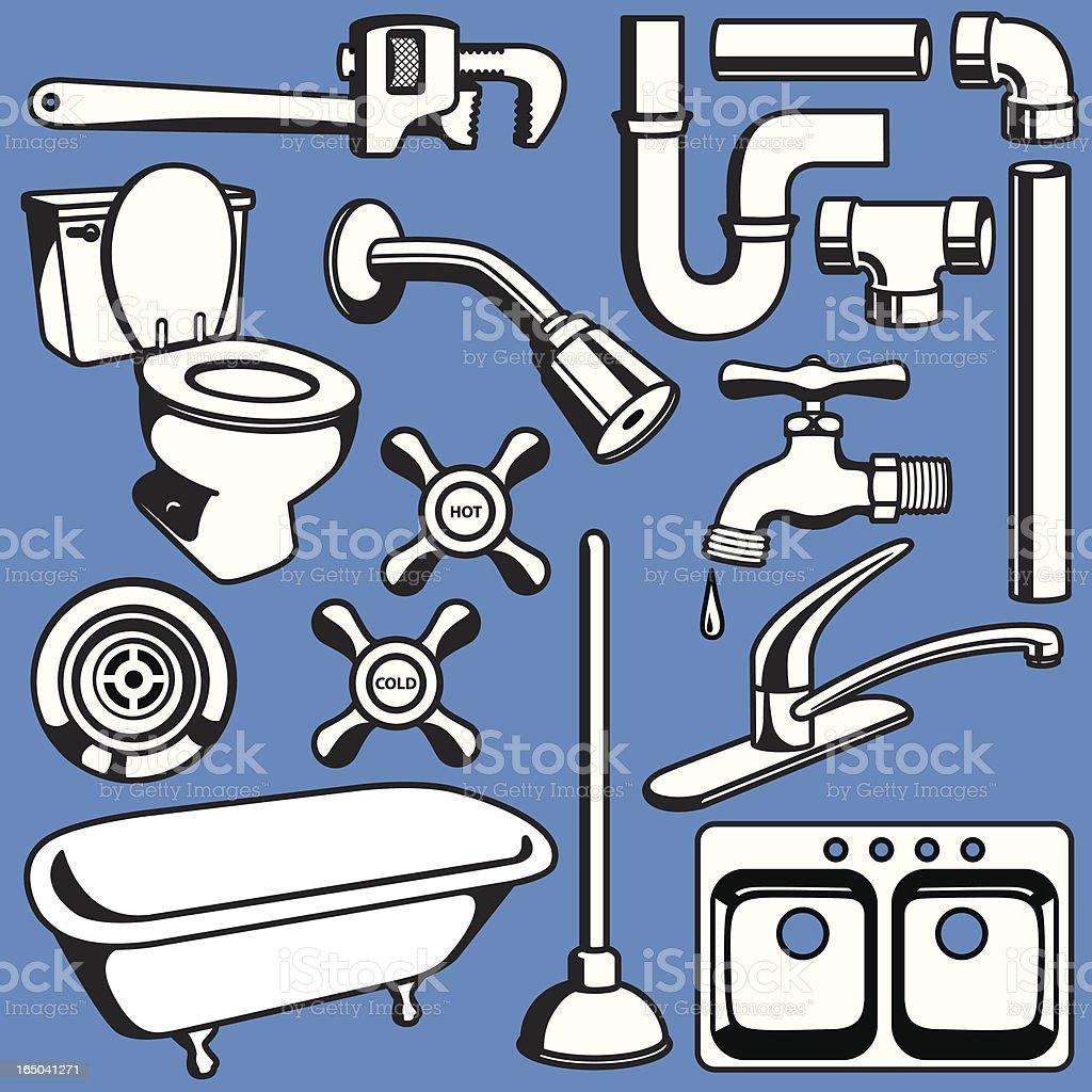 Plumbing Objects vector art illustration
