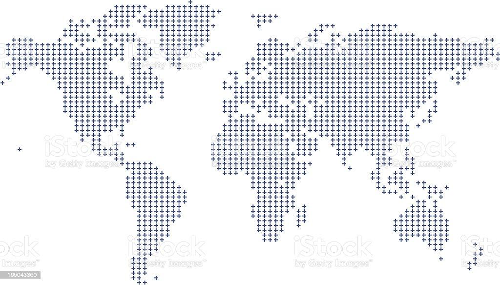 Plus World Map royalty-free stock vector art
