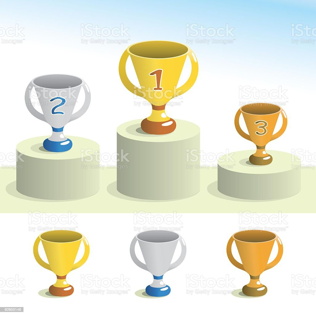 Podium & Trophy icons royalty-free stock vector art