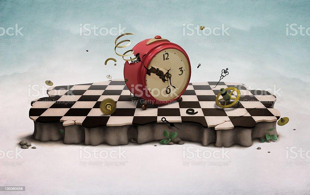 Podium with broken old clock vector art illustration