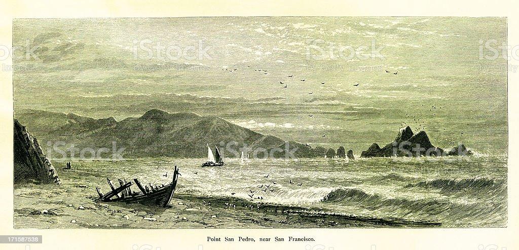 Point San Pedro, USA | Historic American Illustrations royalty-free stock vector art