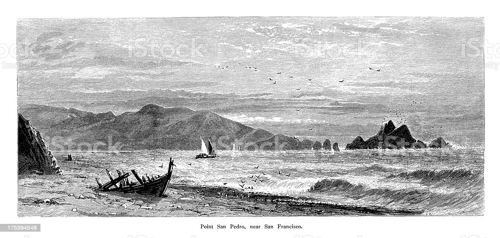 Point San Pedro, USA | Historic American Illustrations royalty-free stock vector art