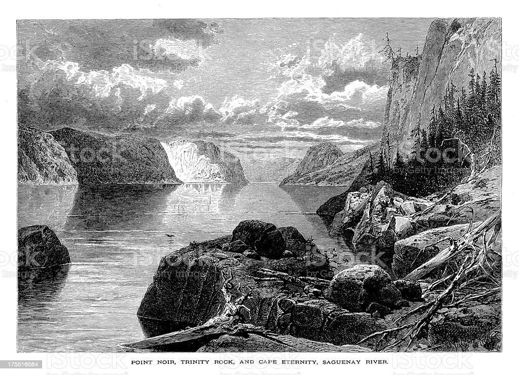 Pointe-Noire, Trinity Rock and Cape Eternity, Canada | Historic Illustrations vector art illustration