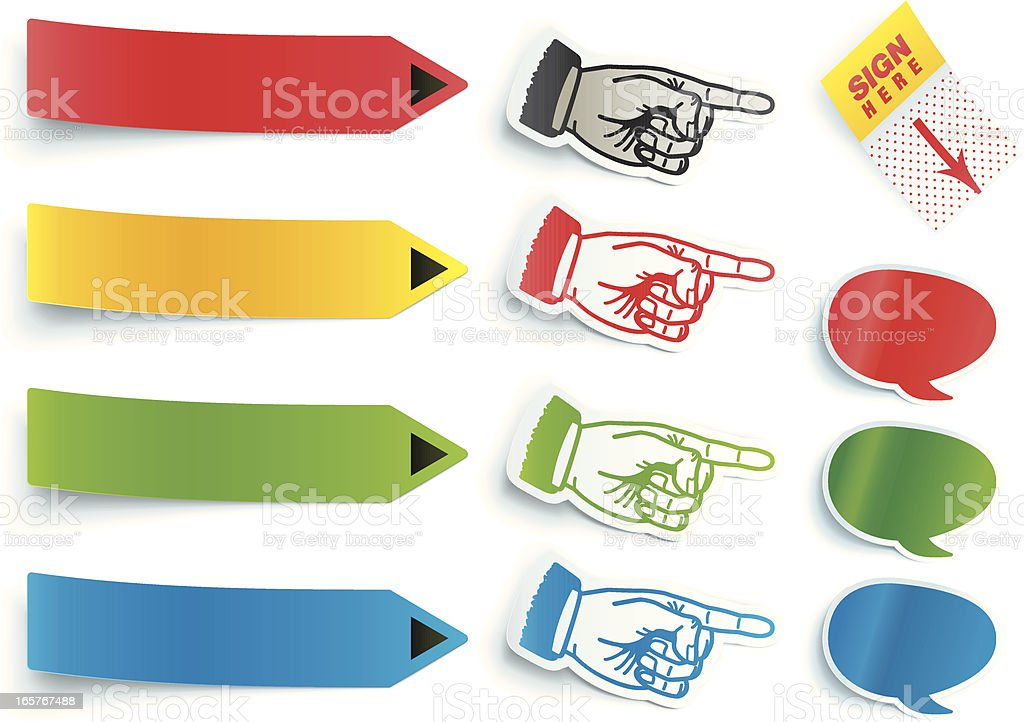 3D Pointer Stickers/Labels royalty-free stock vector art