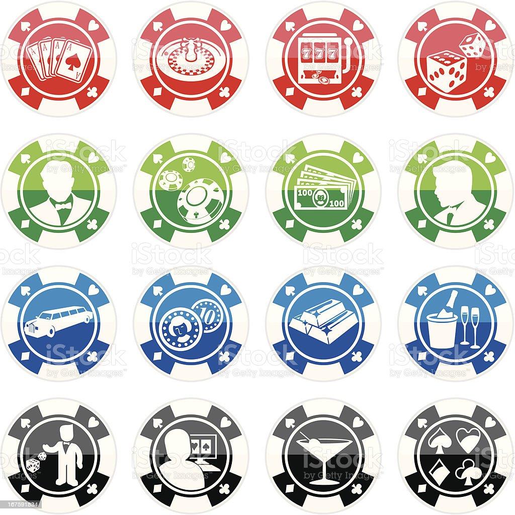 Poker Chip Casino Icon Set royalty-free stock vector art